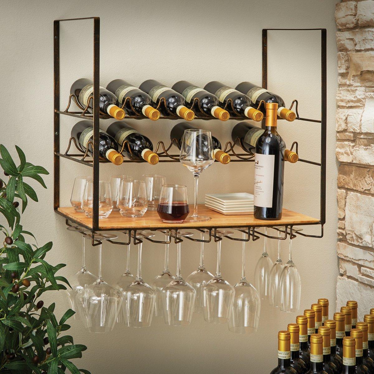 Giá rượu treo tường 12 chai và giá đựng ly thủy tinh treo tường